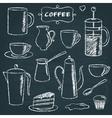 set chalkboard coffee items vector image vector image