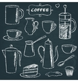 Set of chalkboard coffee items vector image vector image