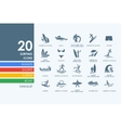 Set of surfing icons vector image vector image