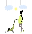 Silhouette of a fashionable pregnant woman vector image vector image