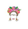 single line sketch watercolor frida mexican woman vector image