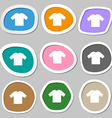 t-shirt icon symbols Multicolored paper stickers vector image