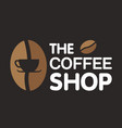 the coffee shop coffee bean black background vector image vector image