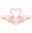 two hands holds heart vector image