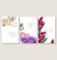 vertical wedding invitation card set with roses vector image vector image