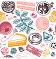 winter desserts and hot seasonal drinks backdrop vector image