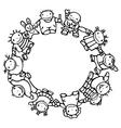 circle of happy children vector image