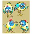 Set of cartoon doodle birds icons vector image