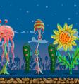 seamless game landscape fantastic forest vector image
