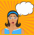 surprised girl on comic book background vector image