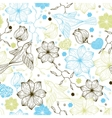 Retro seamless pattern with flowers and birds vector image