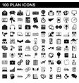 100 plan icons set simple style vector image vector image