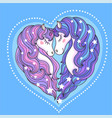 a pair beautiful unicorns with a long mane agai vector image vector image