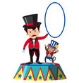 animal trainer and monkey on stage vector image
