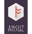 Ansuz rune of Elder Futhark in trend flat style vector image vector image