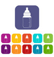 baby milk bottle icons set flat vector image vector image
