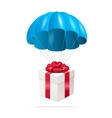 Blue Parachute with a gift box vector image vector image