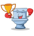 boxing winner toilet character cartoon style vector image vector image