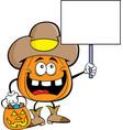 cartoon pumpkin dressed as a cowboy vector image vector image