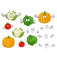 Cartoon tomato cabbage pumpkin and cauliflower vector image vector image