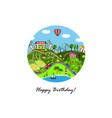 cartoon town greeting card vector image vector image