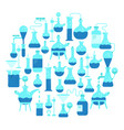 chemistry science round background flask test vector image vector image