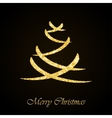 Christmas tree gold glitter greeting card vector image vector image