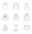 Clothing icons set outline style vector image vector image