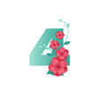 color number 4 with beautiful flowers vector image vector image