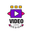 colorful video logo template creative design vector image vector image