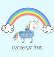 cute unicorn with ethnic pattern with rainbow vector image vector image