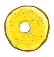 Donut with yellow icing on white background vector image vector image