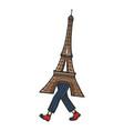 Eiffel tower walk sketch engraving