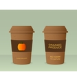 Farm Fresh cup template with pumpkin Stylish Mock vector image vector image