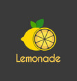 fresh lemon slice circle logo design template vector image