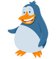funny penguin bird animal cartoon character vector image