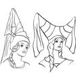 girl in medieval hat vector image vector image