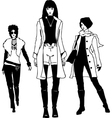 Graphic trendy women silhouettes vector image vector image