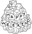 Happy weekend on doodle vector image