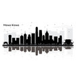 hong kong china city skyline black and white vector image vector image