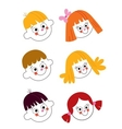 kids faces set vector image vector image