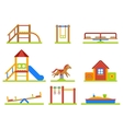 Kids playground flat icons set vector image