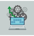 laptop with gears and arrow image vector image