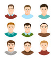 Male character face avatars flat style people set