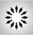 man and woman silhouettes arranged in round dance vector image vector image