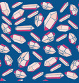 many pink crystals on a blue background vector image vector image