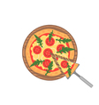 Margherita pizza on wooden board on white Slice vector image vector image