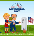 memorial day adult man with children in military vector image vector image