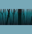 night fog forest nature background vector image vector image