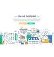 Online shopping line flat design banner with a vector image vector image